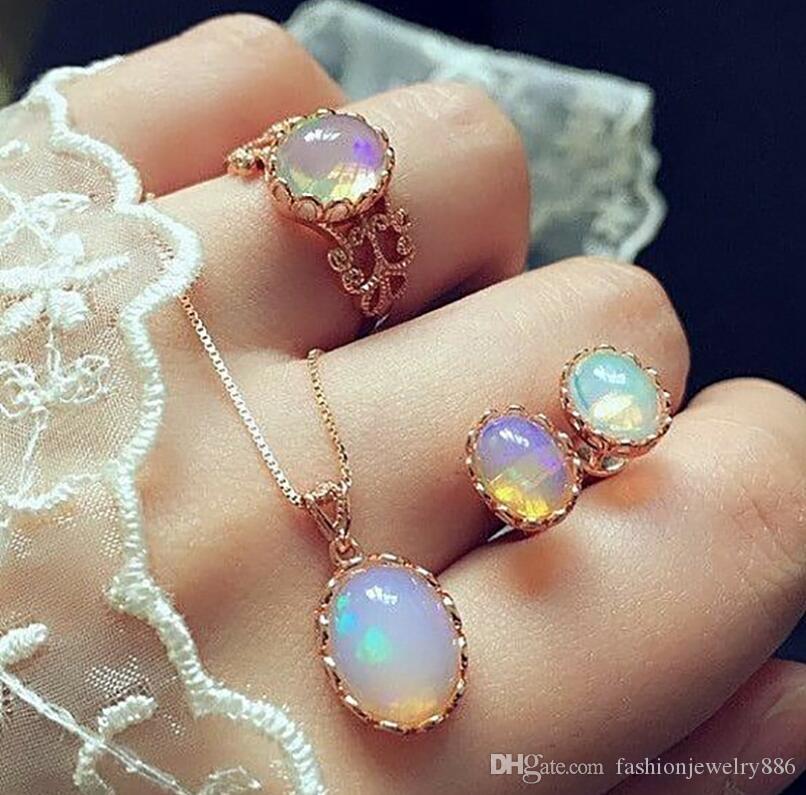 جديد أنيق تألق الأحجار الكريمة سحر قلادة قلادة القرط خاتم مجموعة مجوهرات للنساء سيدة العروس مجوهرات الزفاف