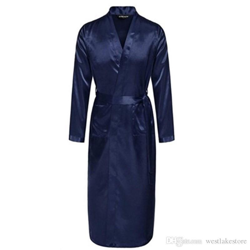 Azul marino chino de los hombres traje de rayón de seda verano ropa de dormir casual con cuello en v kimono Yukata vestido de baño tamaño S M L XL XXL