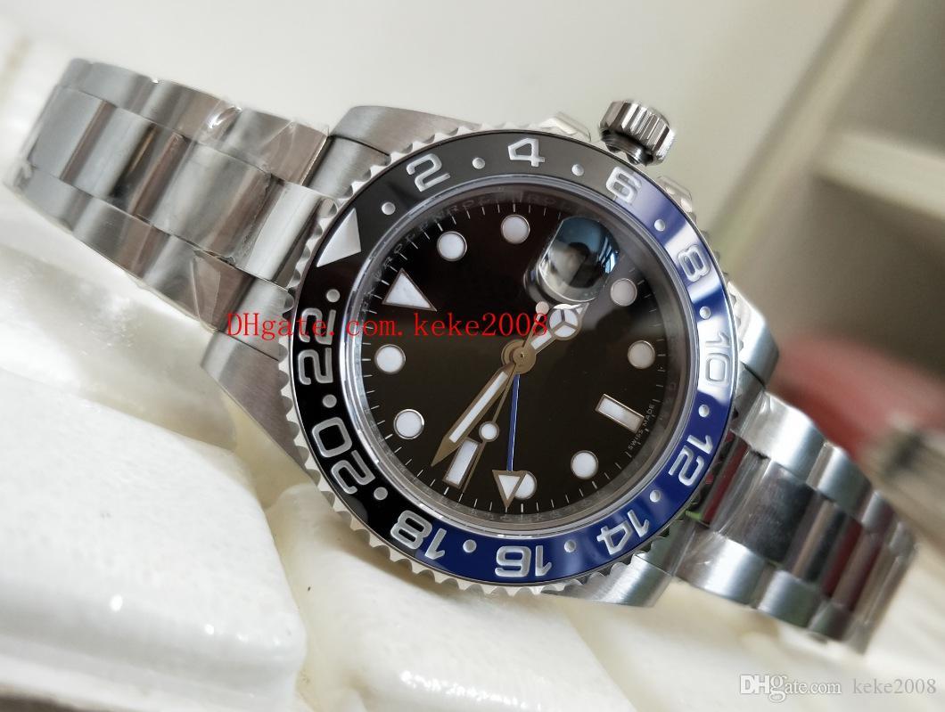 Luxo Top Quality BP Fábrica De Fábrica 2813 Movimento 40mm GMT 116710 116710BLNR Azul Luminescente Batman Mecânico Automático Mens Relógios