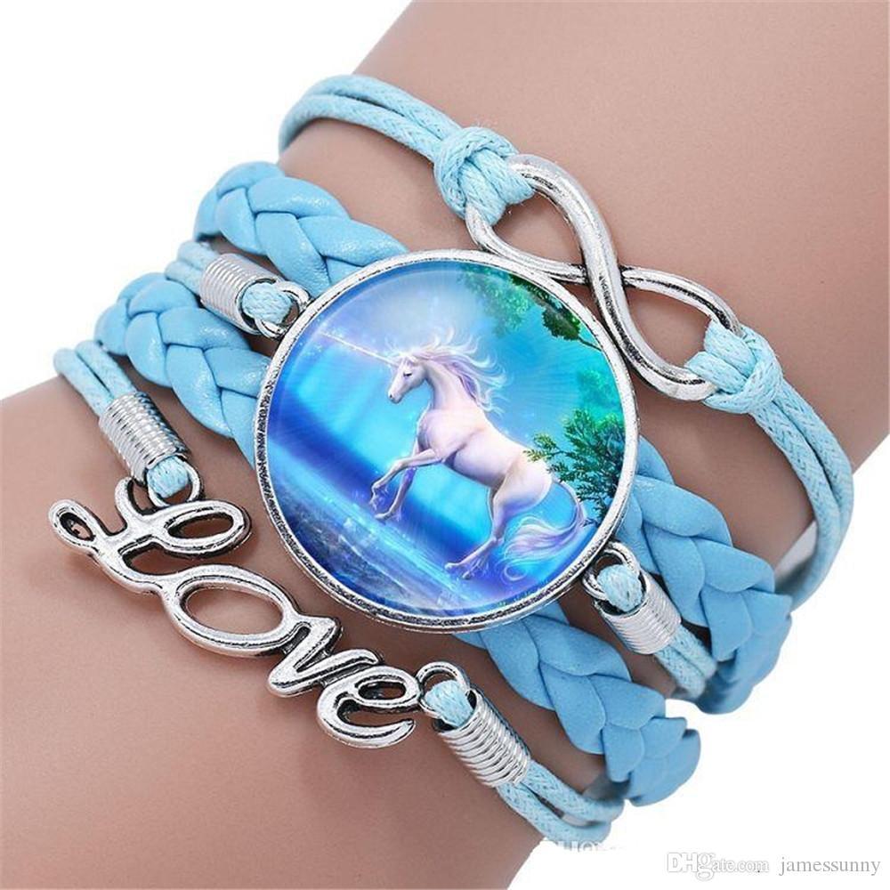 prix spécial style bohème Licorne Bracelet Amour Charme Pegasus Licorne Verre Cabochon Multicouche Wrap Bracelet Poignet Bracelet Manchettes Bijoux