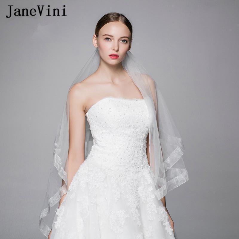 wholesale Simple White Wedding Veils One Layer Veil Ribbon Edge Fingertip Length Veil Women Wedding Accessories Sluier Bruiloft