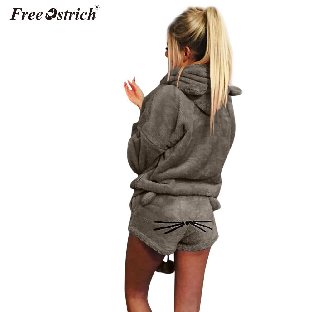 Free Ostrich Autumn Winter Women's Two Piece Set Pajamas Warm Coral Velvet Suit Cute Cat Pattern Hoodies Shorts Out Fit N30