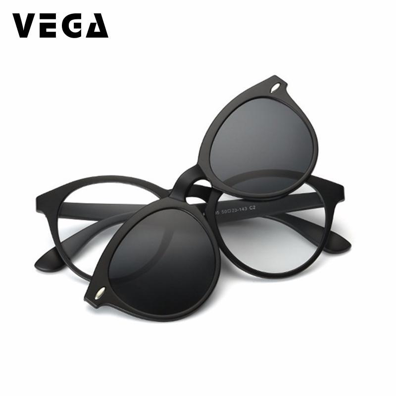 Vega clipe polarizado em óculos de sol para óculos copos quadros óculos com clipe em óculos de sol óculos magnéticos homens mulheres 956