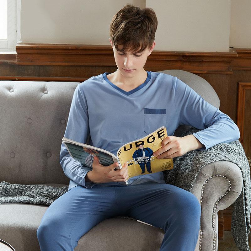 Atacado 2018 outono Homens Pijama de Manga Longa Conjunto de Pijama Homens Puro Algodão Completo plus size pijama Para Homens Sleepwear Terno homewear
