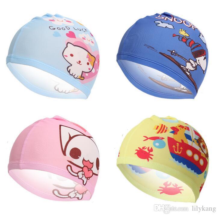 18 estilo dos desenhos animados menino menina praia nadar boné de pano tecido crianças esporte aquático chapéu de banho do bebê quente caps atacado