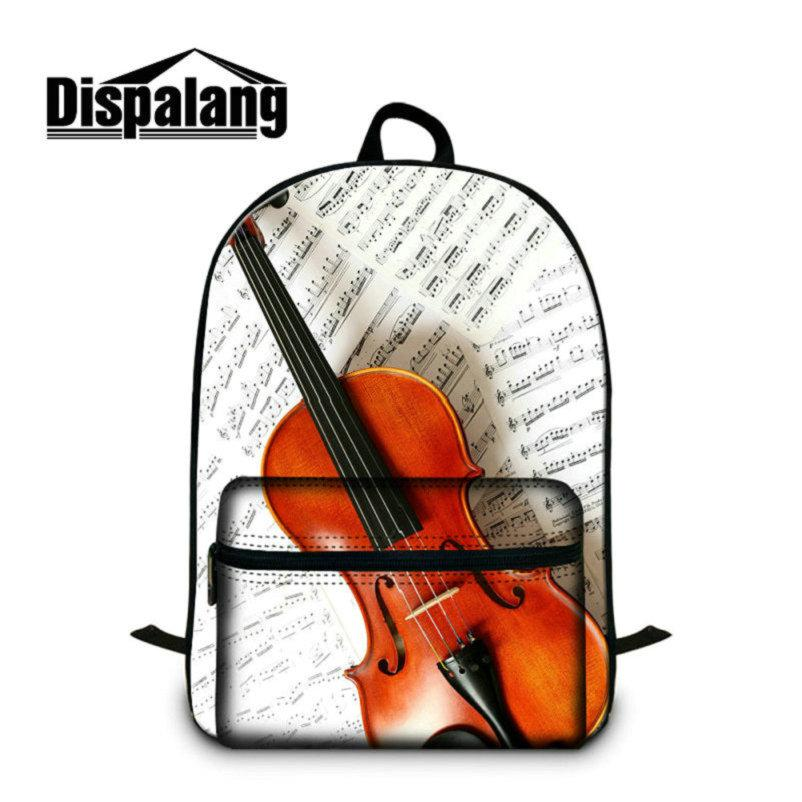 14 Inch Notebook Computer Laptop Backpack For Teenagers Violin Printed School Bags For High School Students Children Canvas Quality Bookbags