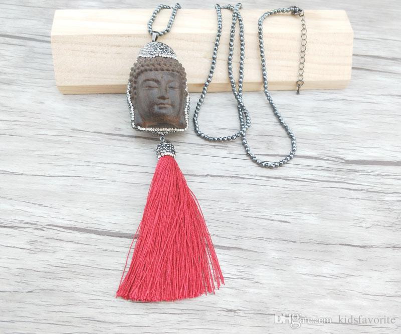 4 개 적철광 구슬 체인 목걸이, 나무 Maitreya 부처님 머리 술 펜던트 보석 목걸이 NK306