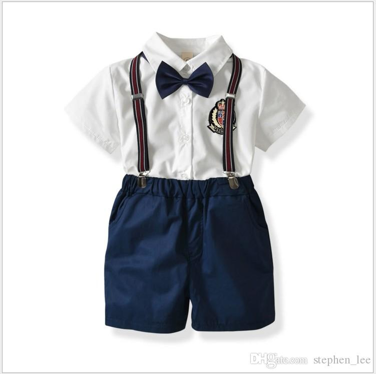 Cute 2PCS Toddler Kids Boy Gentleman Bowtie Shirt Shorts Clothes Outfits Set UK
