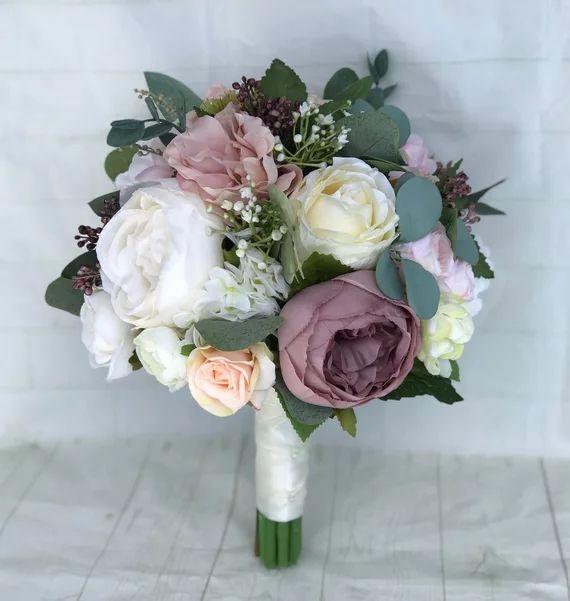 Wedding bouquet, Dusty Rose Bridal bouquet, Blush Wedding flowers, Peony bouquet, Mauve/Dusty Rose Wedding flowers, Silk Bridal bouquet