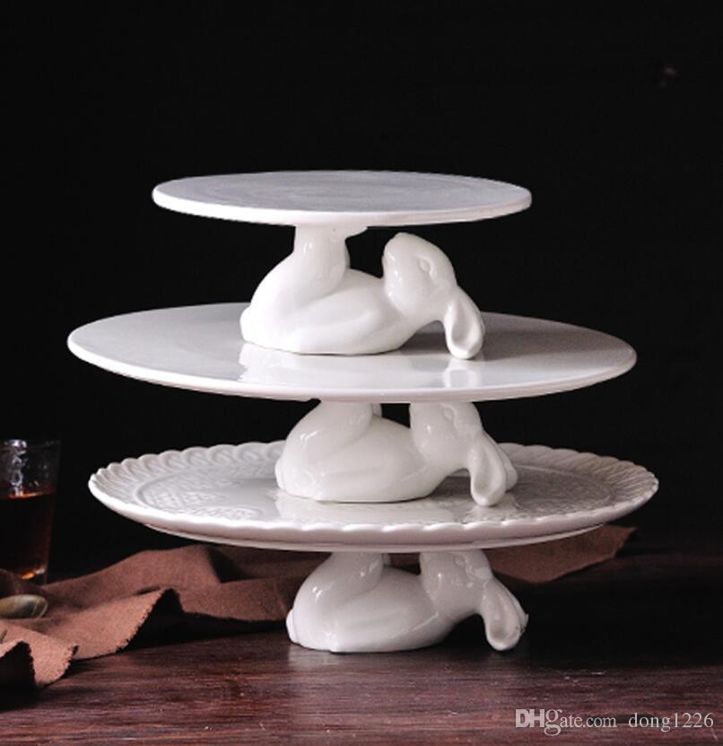Keramik-Kaninchen-Frucht-Süßigkeit-Platte Auflaufform Dessert Snack Salat Hase Kuchen Teller Wohnkultur Hochzeit Kaninchen Fach Dekoration Geschenk