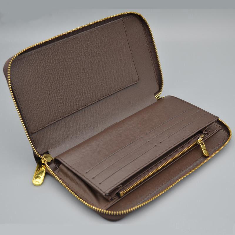 Vente en gros classique standard Porte-monnaie en cuir mode Portefeuille long argent Sac Zipper monnaie papier argent de poche Intercalaire Pochette