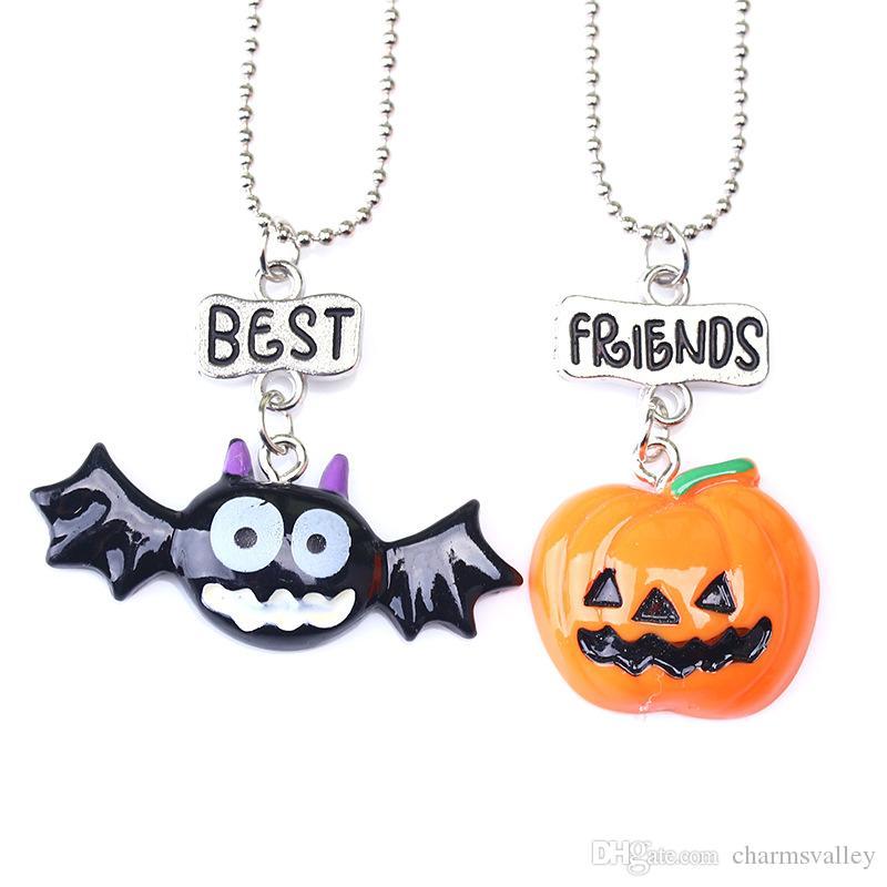 """2 UNIDS / Par Niños """"Mejores Amigos"""" Collares de Halloween Niños Palos de calabaza Colgante Collar Para Niños Regalo de La Joyería"""