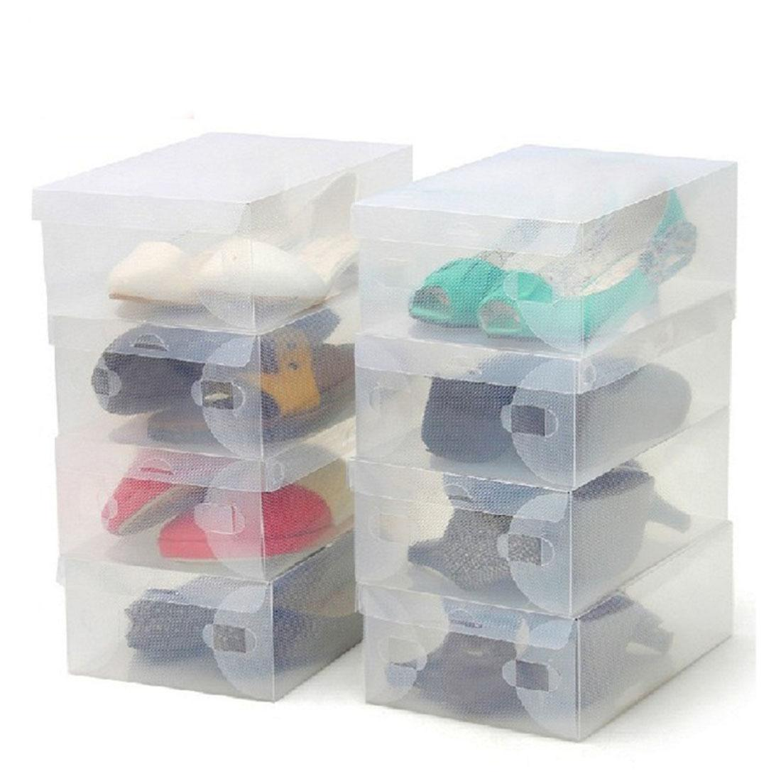 Top Sale 10 Unids Transparente Maquillaje Organizador Zapatos de Plástico Transparentes Cajas de Almacenamiento Plegable Zapatos Case Holder Home Herramientas útiles