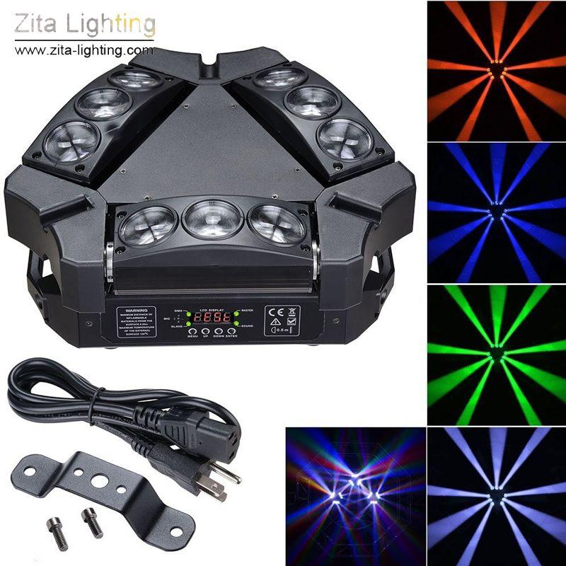 4 pçs / lote Zita iluminação LED Spider Lights Moving Head triângulo rotativo 9 olhos 9X12 W RGBW BEAM Scanner de iluminação de palco DMX512 festa de casamento