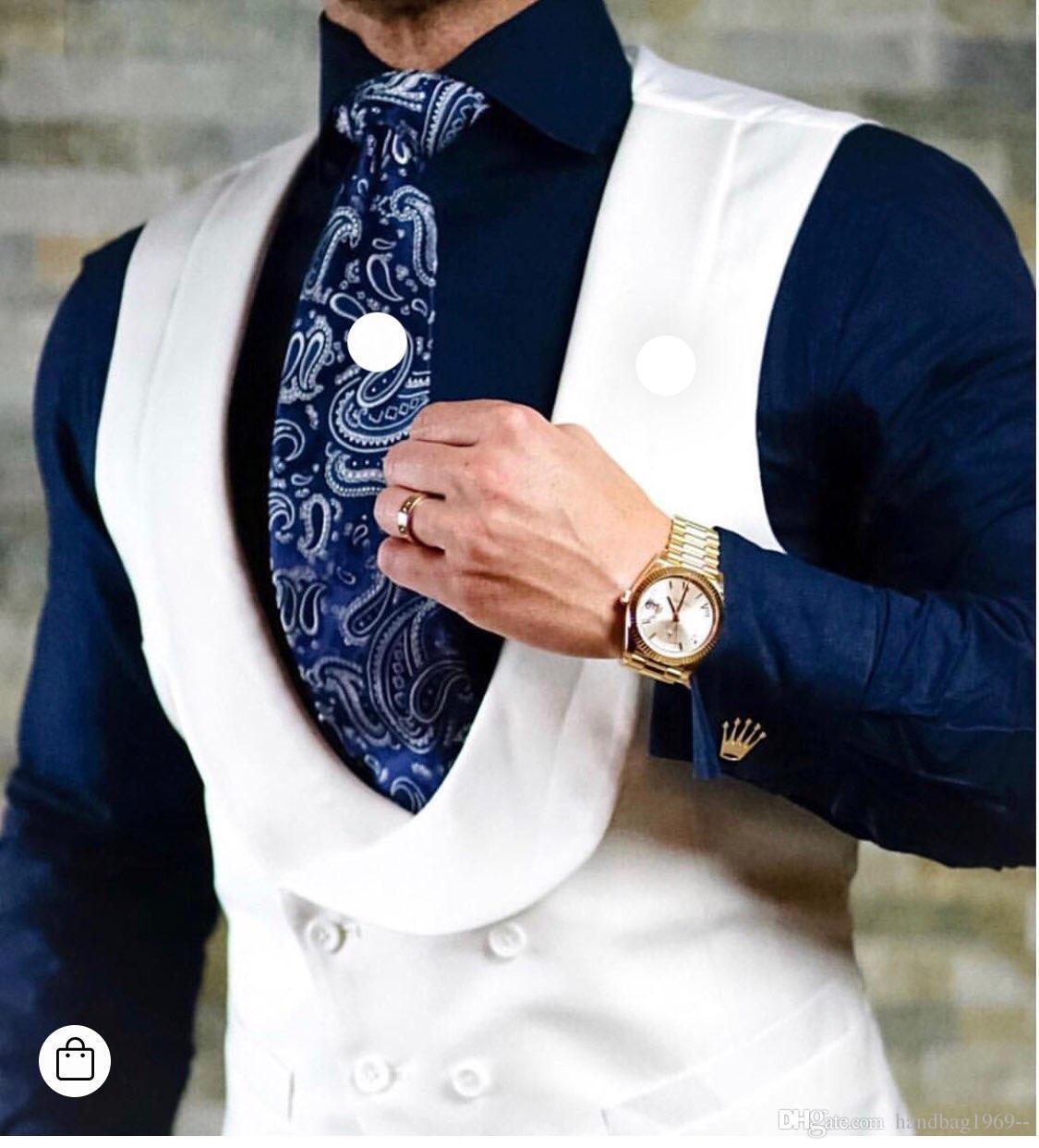 جديد نمط مزدوج برستد الأبيض العريس سترة الرجل صدرية رفقاء العريس رجل الزفاف ارتداء الصدرية رقم: 0799