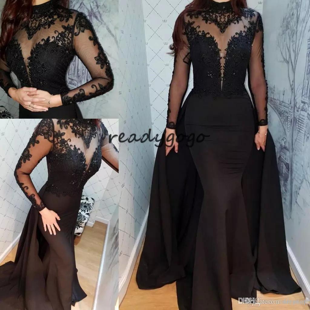 Großhandel Moderne Schwarze Meerjungfrau Abendkleider Mit Überrock 16  Schiere Juwel Hals Abendkleid Langarm Illusion Spitze Appliques Party  Kleider
