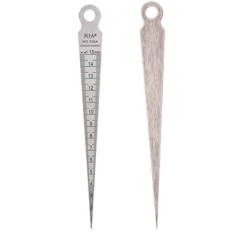 2pcs Stainless Steel Taper Welding Feeler Gauge Gage Depth Ruler Gap Hole 1-15mm