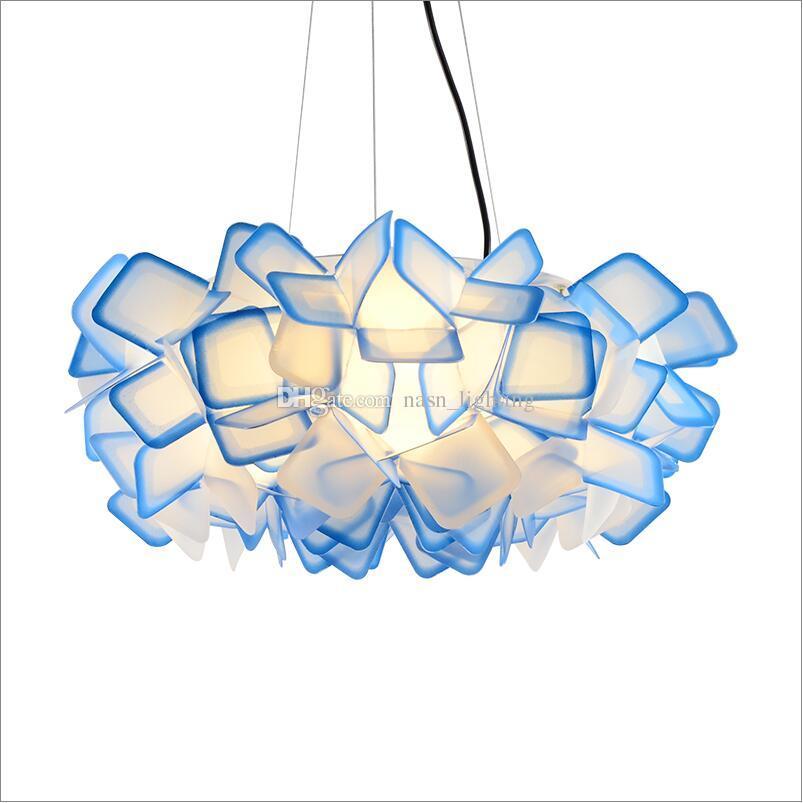 새로운 디자인 D50 / 75cm Clizia PC 서스펜션 램프 공예품 다채로운 그라데이션 아크릴 플라워 펜던트 조명 침실 조명