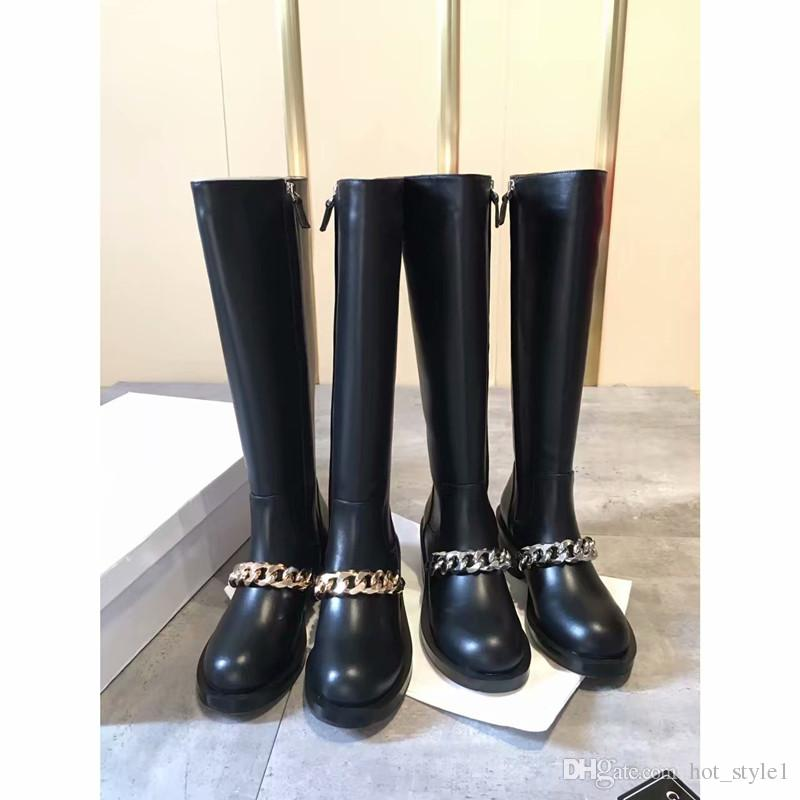 High Quality Woman Round Toe Real Leather High Boots Chain Side Zipper Fashion Chunky Heel Knee Boots Mujer Autumn Winter Knight Boots