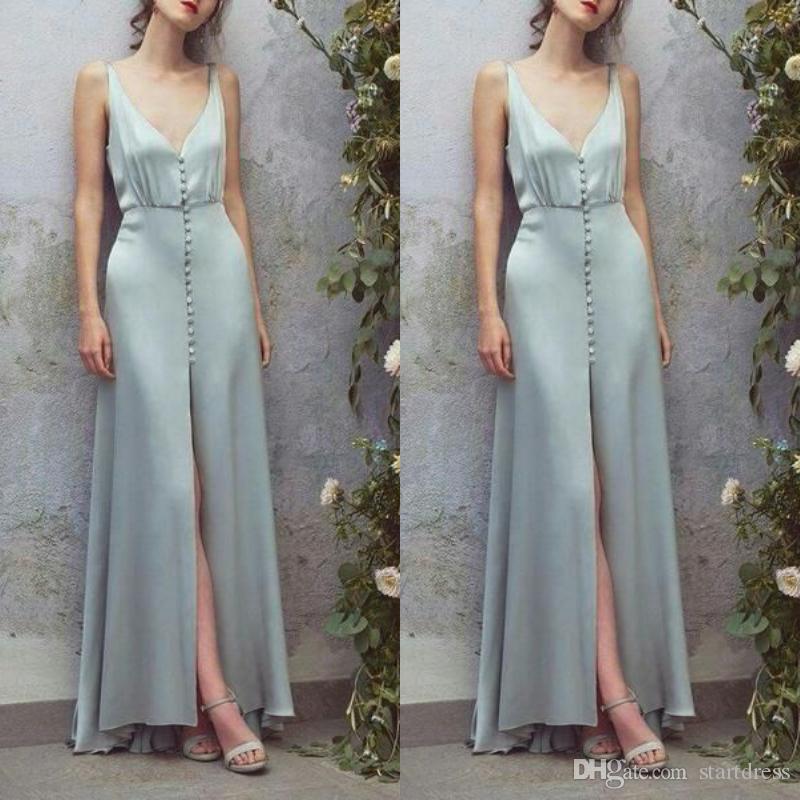 Azul fantasia do bebê Vestidos frente botões V profundo no pescoço de cetim de fenda frontal sexy vestidos de baile formais para mulheres designer de BETRA senhoras uk