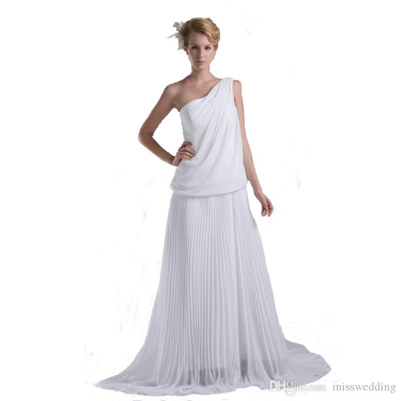 Precio competitivo Un hombro Estilo Vestido de novia de gasa Una línea de diseño Impresionante barrido de tren Vestido de novia 2018