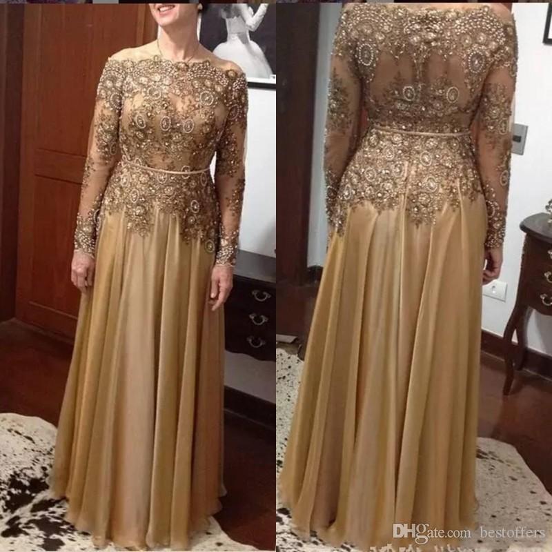 Elegante Ouro Uma Linha Lace Bead Mãe do vestido de noiva 2018 Plus Size Chiffon Chiffon-Comprimento Zipper Vestidos da Mãe Vestidos Formal