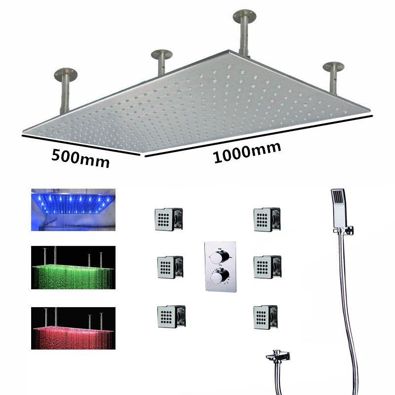 Hydro Power Shower System نظام دش مطري 500 * 1000 مم 3 تغيير لون مع 4 طرق ترموستاتي دش خلاط