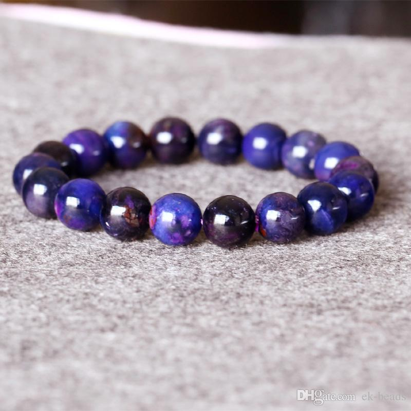 South Africa High Quality Natural Genuine Dark Purple More Blue Sugilite Stretch Finish Bracelet Round beads 11.4mm 05012