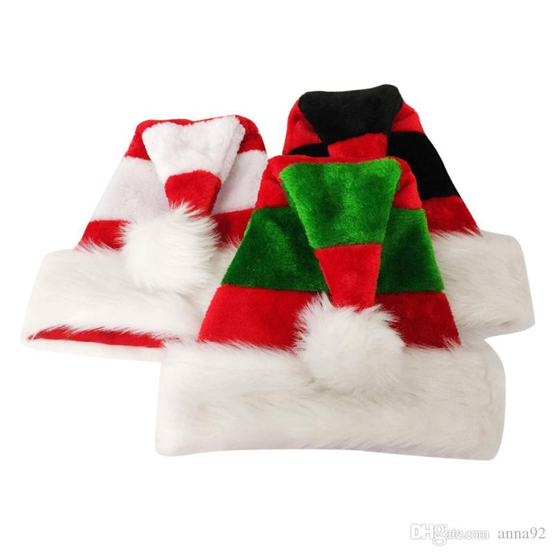 Double Layer Plush Christmas Hats for Adult Kids Christmas New Year Party Hats Home Bar Decoration Christmas Ornament free shipping hot sale