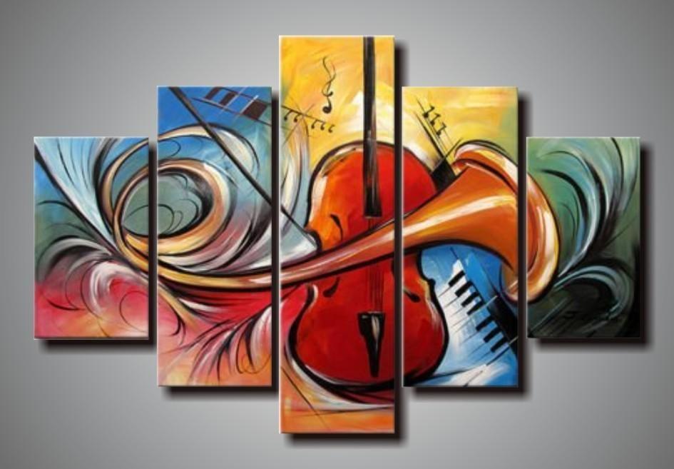 peint à la main 5 panneaux mur art abstrait instruments de musique toile art peintures à l'huile