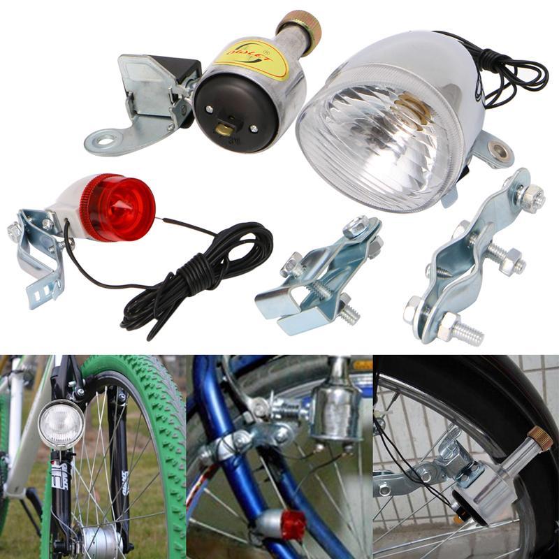 Nuevo 2017 llegada Bicicleta Motorizada Fricción Dynamo Generador de la Luz de La Cola de La Cabeza Con Acessorios