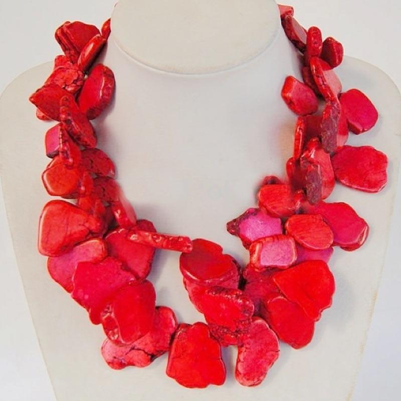 Очарование новое прибытие модные многослойные красный коралловый срез камень барокко ожерелье колье женщина преувеличены коралловый камень ювелирные изделия