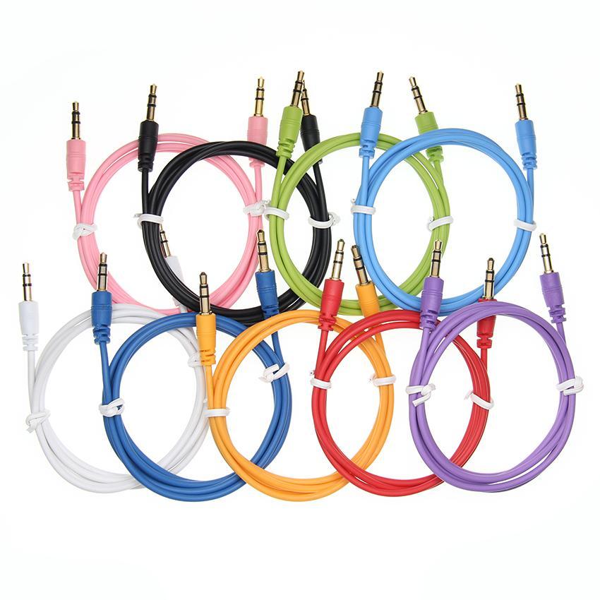 선물 Aux 케이블 남성 남성 오디오 케이블에 다채로운 자동차 오디오 3 5 mm 잭 플러그 AUX 케이블 헤드폰 MP3 일회용 저렴 한 500pcs