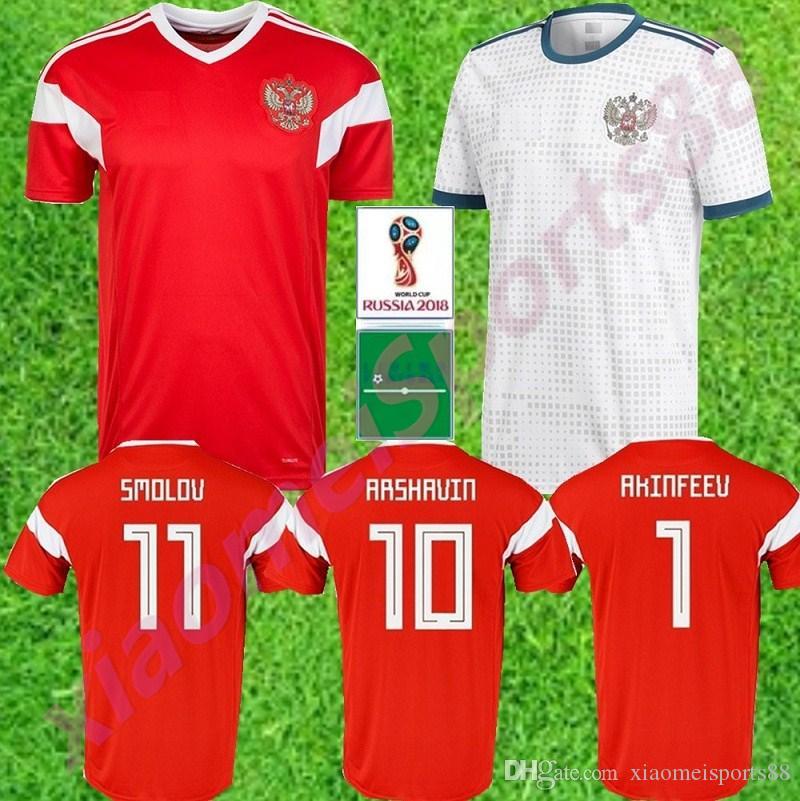 2018 월드컵 러시아 축구 유니폼 2018 월드컵 러시아어 홈 빨간색 축구 유니폼 # 22 DZYUBA # 10 SMOLOV 축구 셔츠