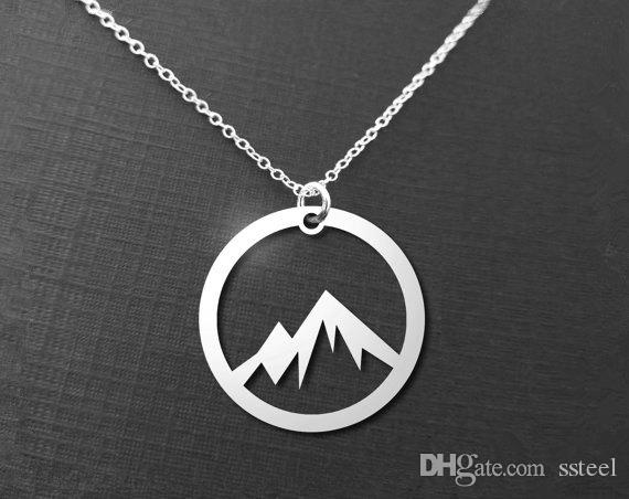 10 unids Simple Naturaleza Colgante de Montaña Nevado Collar Círculo Pico Redondo Collar de Montaña Cadena de Montañas Amante de la Naturaleza Collares joyería
