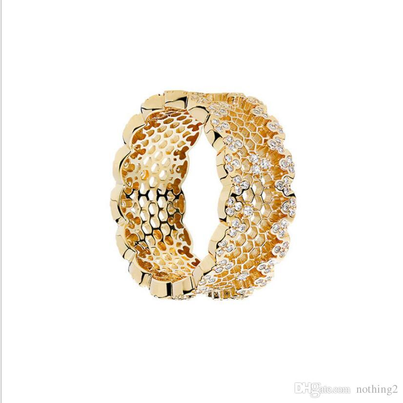 Schmuck CZ Ring S925 Sterling Silber Ringe für Frauen Ringe 18K vergoldete Farbe Wabe heiße Art und Weise frei von Versand