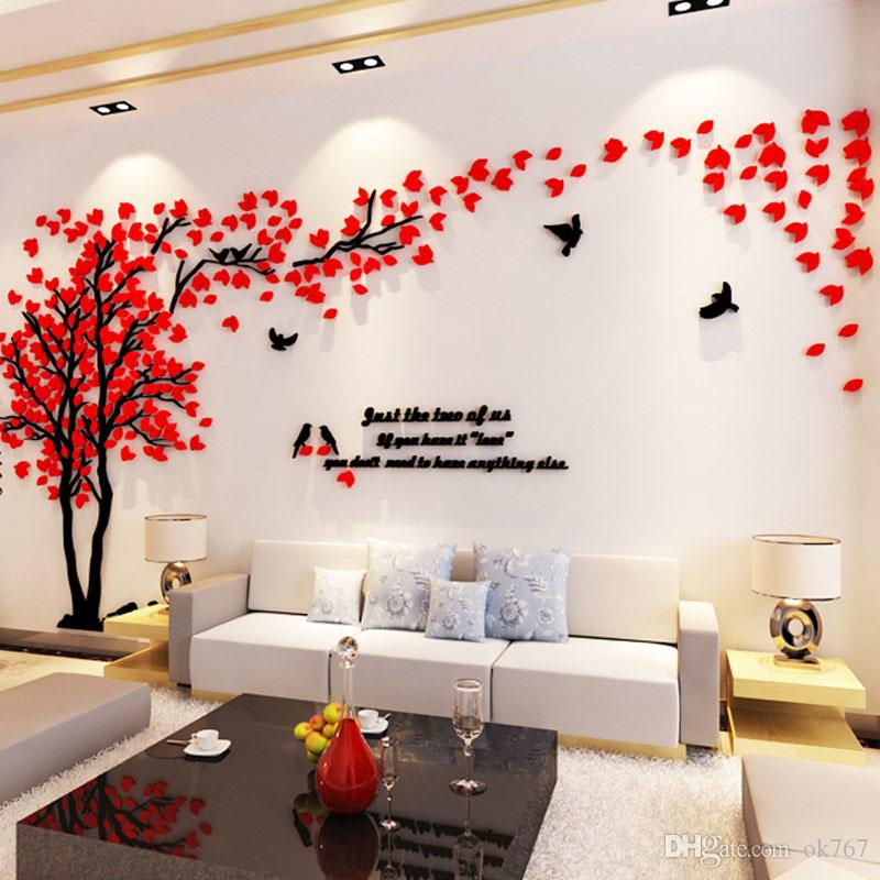 Wholesale Wall Stickers Acrylic Couple Tree Wall Stickers Living Room  Bedroom TV Wall 3D Stickers DIY Home Decor World Map Wall Sticker Zebra  Wall ...