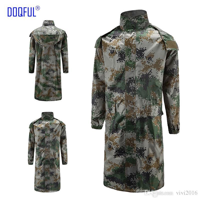 2 pcs / lot Jungle sauvetage longue adulte Camouflage manteau de pluie En Plein Air Formation Travail Uniforme numérique imperméable vêtements de sécurité
