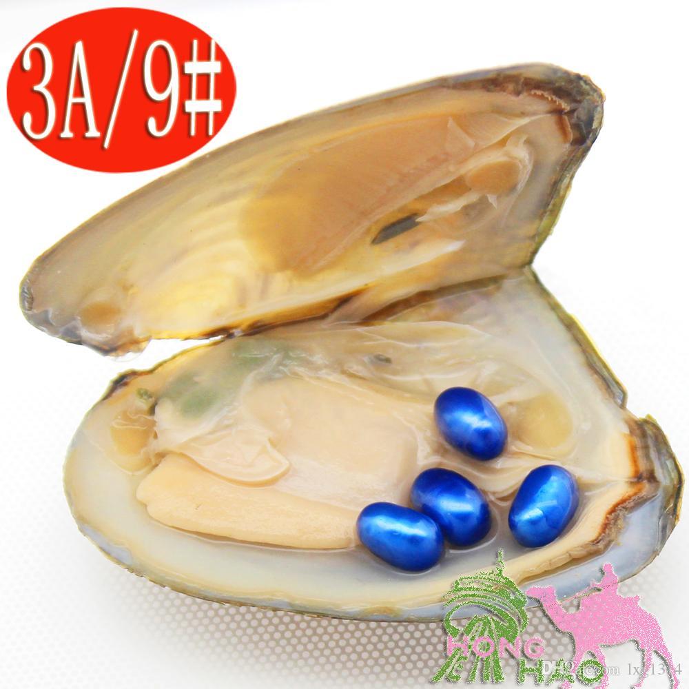 Ostriche naturali di perle d'acqua dolce 6-8mm4 # 9 perle blu dello stesso colore in ostriche triangolari confezionate sottovuoto