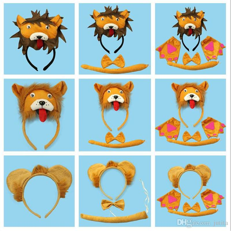 Лев 3D оголовье галстук-бабочку хвост косплей животных 3 шт. Набор дети взрослые Хэллоуин реквизит партия выступает