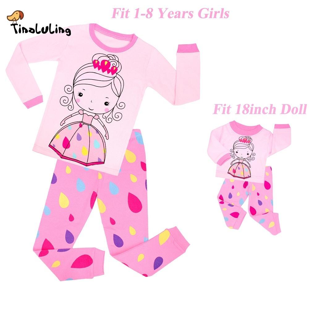 TINOLULING bebek kız bebek prenses pijama seti bebek pijama giyim 18 inç çocuk pijama çocuklar için pijama pijamas giysi Y18102908