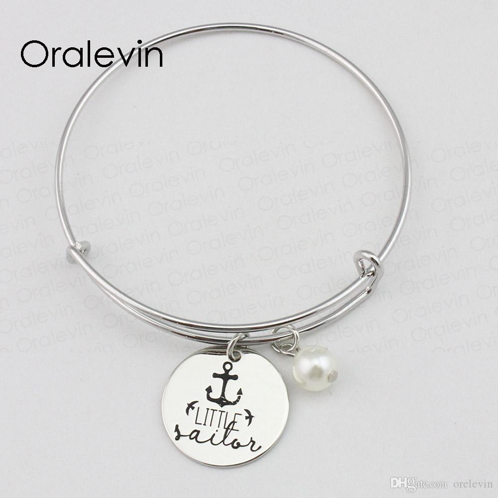 PETIT MARIN Inspirational estampé à la main gravé charme personnalisé pendentif extensible fil Bracelet cadeau bijoux faits à la main, 10 Pcs / Lot, # LN2370B
