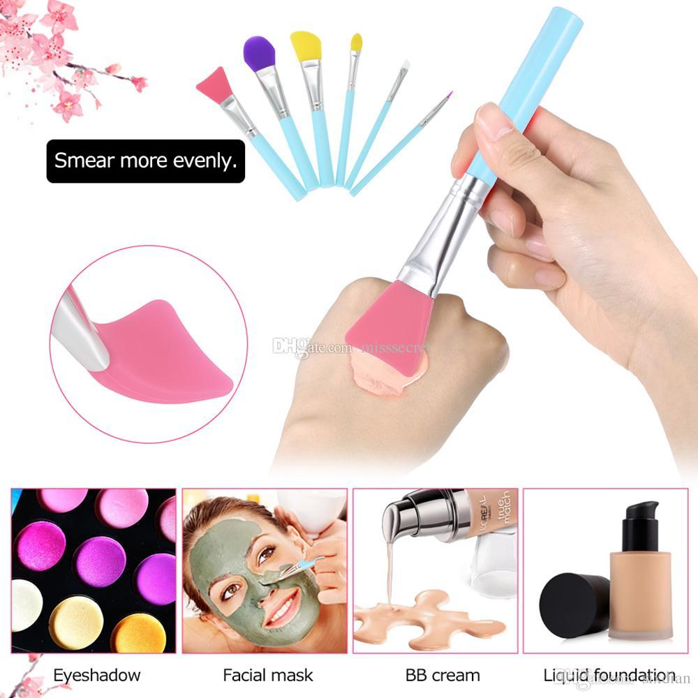 6 Stücke Silikon Pinsel Einzigartige Make-up pinsel Bunte Silikon Maske Augenbraue Eyeliner Lip Pinsel Set Kosmetik Make-Up Pinsel-werkzeug-kit Dhl-freies
