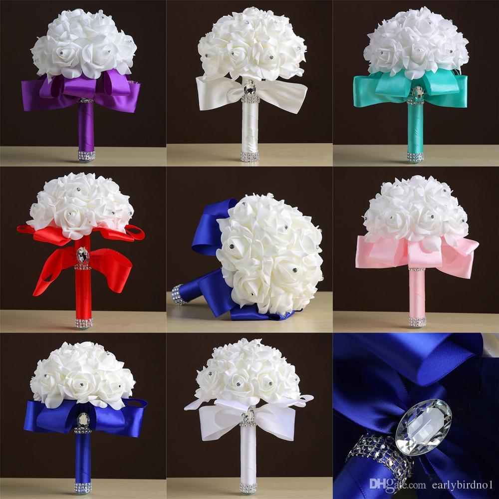 2018 barato novo casamento Artificial Bouquets Rhinestone Foam Rosas Broche de casamento nupcial da dama de honra Posy Bouquet cetim CPA1549