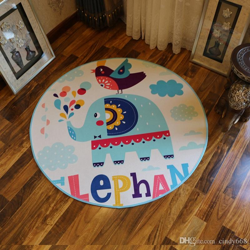 Round Kawaii Crocodile Printed Kids Floor Mat Living Room Carpet Diameter 80cm Large Bathroom Rugs 1 Pcs Cartoon Bedroom Kitchen Mat tapetes