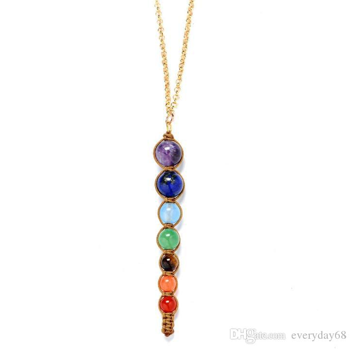 Atacado-Multicolor Lava 7 Chakra Cura Contas de Equilíbrio Colar Mulheres Colares Pingentes Reiki Espiritual Yoga Jóias Pingente de Colar
