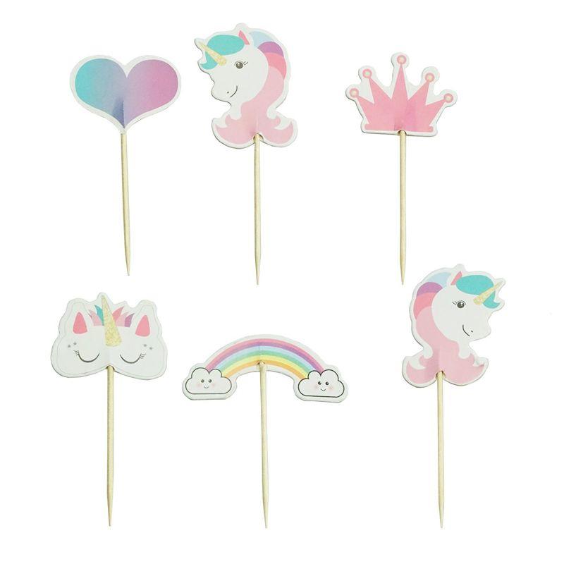 24PCs Unicorn Cupcake Topper Happy Birthday Decor Kids Unicorn Festival Party Supplies Paper Cake Topper Baby Shower Favor