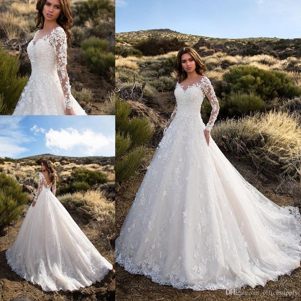 Großhandel Vintage Langarm Brautkleider Spitze Applizierte Backless  Brautkleider Sheer Jewel Neck Garden Country Hochzeitskleid Von  Officesupply,