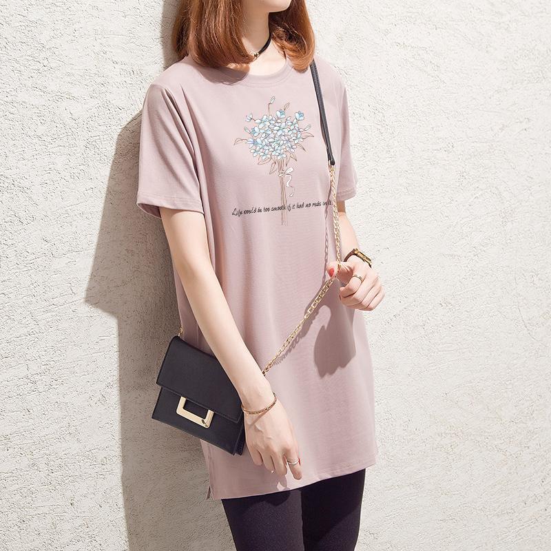 desgaste 2019 de las mujeres del verano, Han Feng, tamaño grande relajado, simple, de longitud media camiseta, tapas ocasionales camiseta blanca de las mujeres de manga corta.