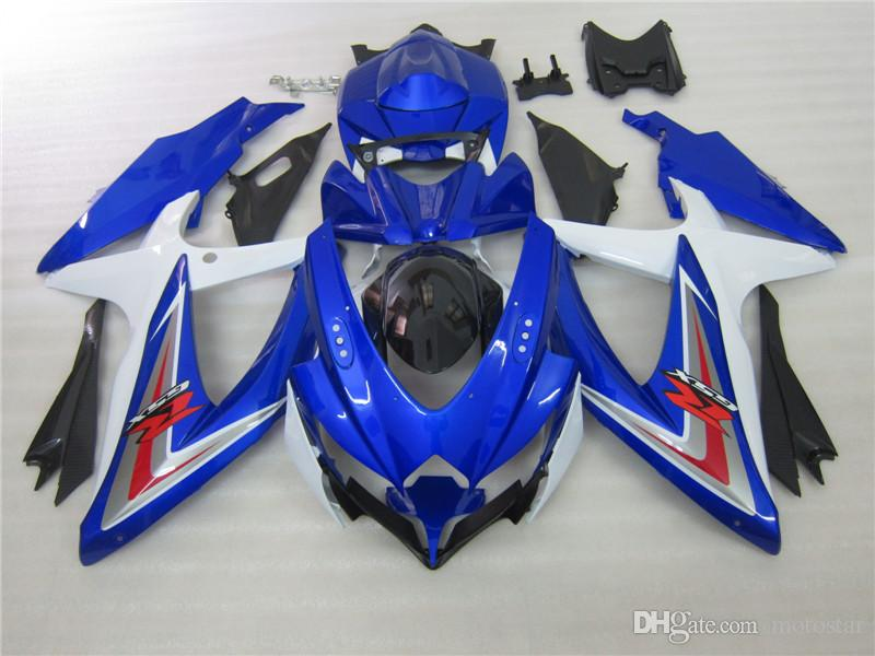 7 Gifts motorcycle fairings for SUZUKI 2008 2009 2010 GSX-R600 GSX-R750 08 09 10 GSXR 600 GSXR750 K8 black blue white fairings kit